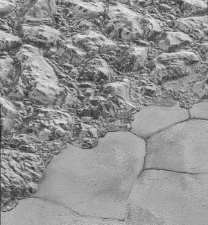 New Horizons' image of ice fields on Pluto, July 14, 2015 / NASA , JHU-APL, SWRI / Click to see more.