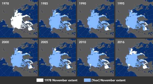 Sea Ice since 1978 / NASA, EarthSky / Click for more.