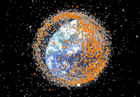 Space debris, still from time-lapse visualization / Dr. Stuart Gray, UCL, The Royal Institution / Click for more.