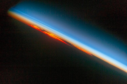 Earth sunset from space, Oct 27, 2016 / NASA, ISS, COSMOS / Click for more.