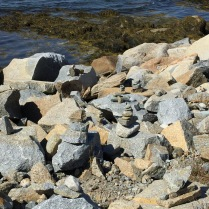 Cairns along shore at lookout point of 1967 UFO incident, Shag Harbor, NS, 9/14/16