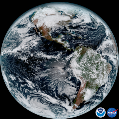 NOAA/NASA GOES-16 Satellite Image of Earth, January 15, 2017 / NOAA/NASA, The Washington Post, 1/23/17 / Click for more.
