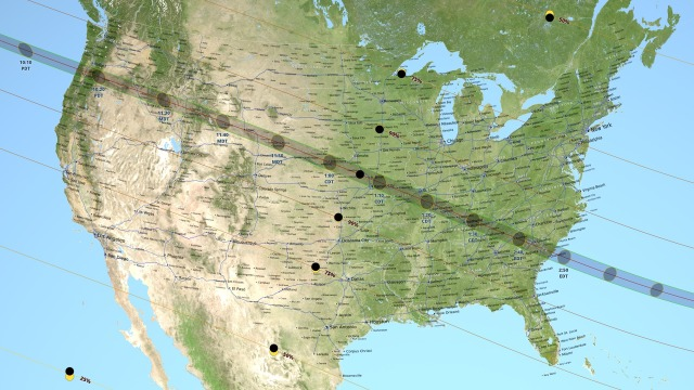 Full map of total solar eclipse on Monday, August 21, 2017 / NASA / Click for more.