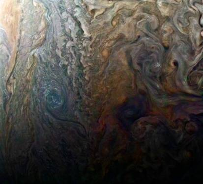Enhanced Junocam Image of Jupiter's Dark Spot, February 2, 2017 / NASA/JPL-Caltech, SwRI, MSSS, Roman Tkachenko / Click for more.