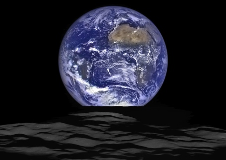 Earth photographed from the Moon by NASA's Lunar Reconnaissance Orbiter, October 12, 2015 / NASA, GSFC, Arizona State U., The Atlantic / Click for more.