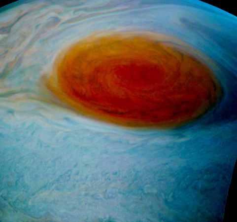 Jupiter's Red Spot, July 12, 2017 / Juno Cam, NASA Tom Momary / Click for more.