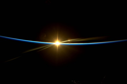 Earth's sunrise from International Space Station / Thomas Pesquet, ESA, NASA, COSMOS / Click for more.