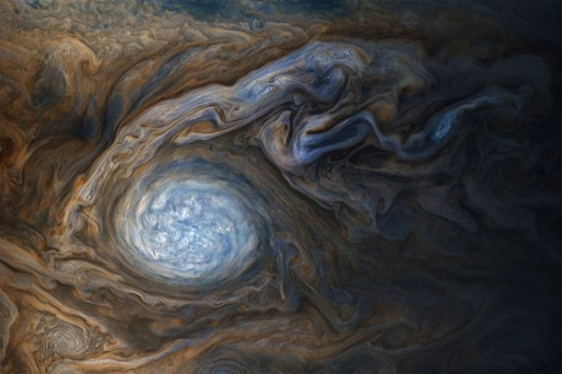 Storms on Jupiter, Dec 8 2017 / NASA, SwRI, MSSS, Gerald Eichstädt, Seán Doran / Click for more.