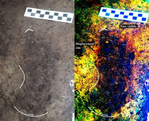 Photo & enhanced version of 1 of 29 human footprints dating back to last Ice Age found along BC coast / Duncan McClaren, Gizmodo / Click for more.