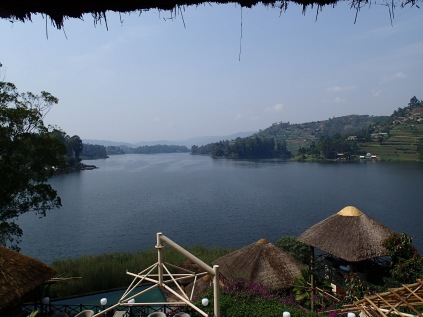 View of Lake Bunyonyi from terrace, Birdnest Resort