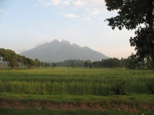 View of Mt. Sabyinyo on way to start of gorilla trek, Kinigi