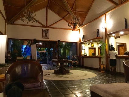 Early morning, lobby of Mweya Safar Lodge, Queen Elizabeth National Park