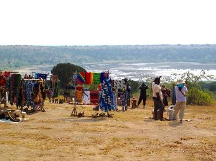 Craft market, lunch spot, Lake Bunyampaka salt pan overlook, Queen Elizabeth NP