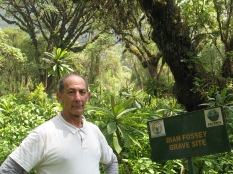 Marc at Dian Fossey's grave site, Karisoke, Volcanoes NP