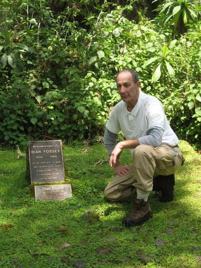 Marc at Dian Fossey's grave, Karisoke, Volcanoes NP