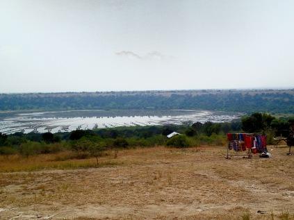 Lunch spot, crafts market overlooking Lake Bunyampaka crater lake salt pan, Queen Elizabeth NP