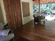 "Porch of ""Flycatcher,"" the name of our tented cabin, Sanctuary Gorilla Forest Camp, Bwindi Impenetrable NP"