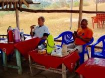 Marc and Kenneth during lunch break, Lake Bunyampaka salt pan overlook, Queen Elizabeth NP