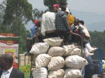 One of many overloaded trucks, road to Lake Bunyonyi