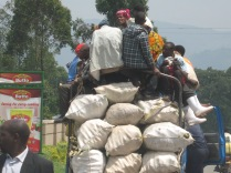 One of many overloaded trucks, road to Lake Bunyonyi