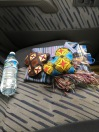 Craft-market purchases on backseat of Toyota Land Cruiser, heading to Kinigi