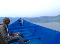 Justus, our bird guide during morning motorized canoe ride on Lake Bunyonyi