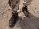 Marc's pants and boots after Karisoke climb, Bisate