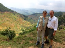 Gini and Marc, valley view, road to Bwindi