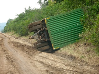 Truck that flipped when roads were wet and slippery, Queen Elizabeth NP