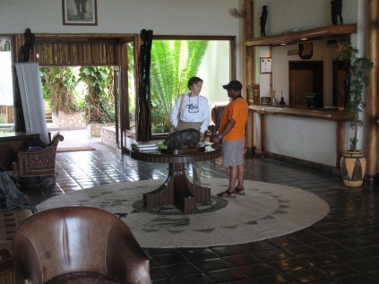 Gini and Kenneth, lobby of Mweya Safari Lodge, Queen Elizabeth NP