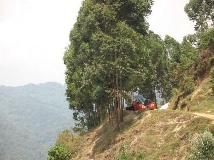 Truck driver taking a rest stop, road to Bwindi