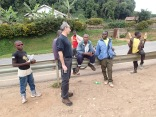 Marc banters with cool kids during vista stop, road to Lake Bunyonyi