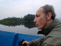 Marc, early morning canoe ride, Lake Bunyonyi