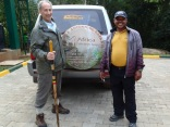 Marc and Kenneth at park headquarters, about to drive to starting point of gorilla trek, Bwindi Impenetrable NP