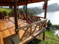 View of our porch from stone steps leading down to our cottage, Crater Safari Lodge, Lake Nyinabulitwa