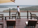 Gini taking in the view from pool deck, Mweya Safari Lodge, Queen Elizabeth NP