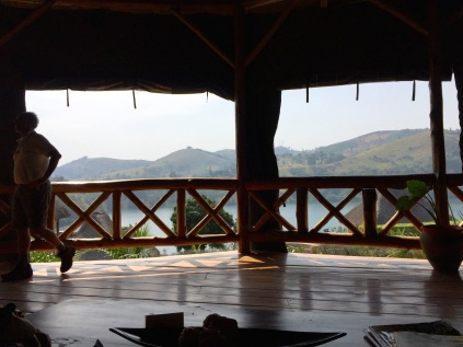 Main pavilion, bar and lounge area, Crater Safari Lodge, Lake Nyinabulitwa, near Kibale Forest National Park