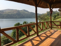 Our porch in afternoon sunlight, Crater Safari Lodge, Lake Nyinabulitwa