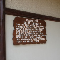 Wildlife warning sign, Mweya Safari Lodge, Queen Elizabeth NP