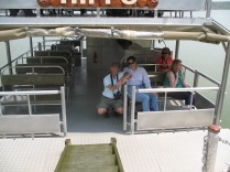 Marc and Gini aboard boat, ready for tour of Kazinga Channel, Queen Elizabeth NP