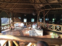 View of lower lounge and upper dining area, Crater Safari Lodge, Lake Nyinabulitwa