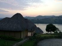 Returning to our cabin at sunset, Crater Safari Lodge, Lake Nyinabulitwa