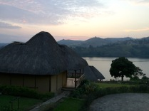 Returning to our cabin at sunset, Crater Safari Lodge, Lake Nyinabulitwa