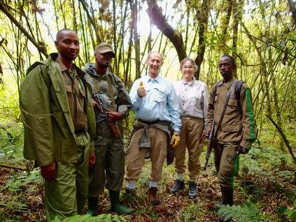 Marc, Gini and rangers, start of gorilla trek, Volcanoes NP