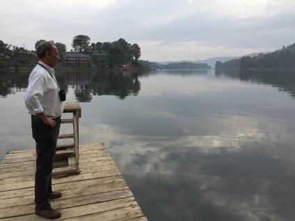 Marc on dock, BirdNest Resort, Lake Bunyonyi