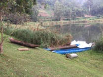 Local canoes, BirdNest Resort, Lake Bunyonyi