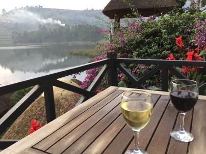 Wine on lodge terrace, BirdNest Resort, Lake Bunyonyi