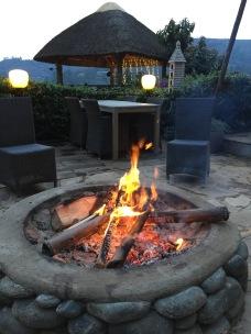 Fire pit on the terrace, BirdNest Resort, Lake Bunyonyi