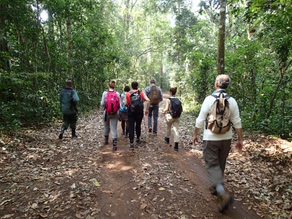Moses and our group walking down the one road that cuts through the forest, Kibale Forest NP