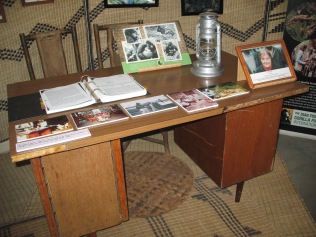 Dian Fossey's desk, now housed with other artifacts in the Karisoke Research Center in Musanze (Ruhengeri). Like everything else that was once up at her research station, it had to be carried up the mountain by porters and, later, carried back down.